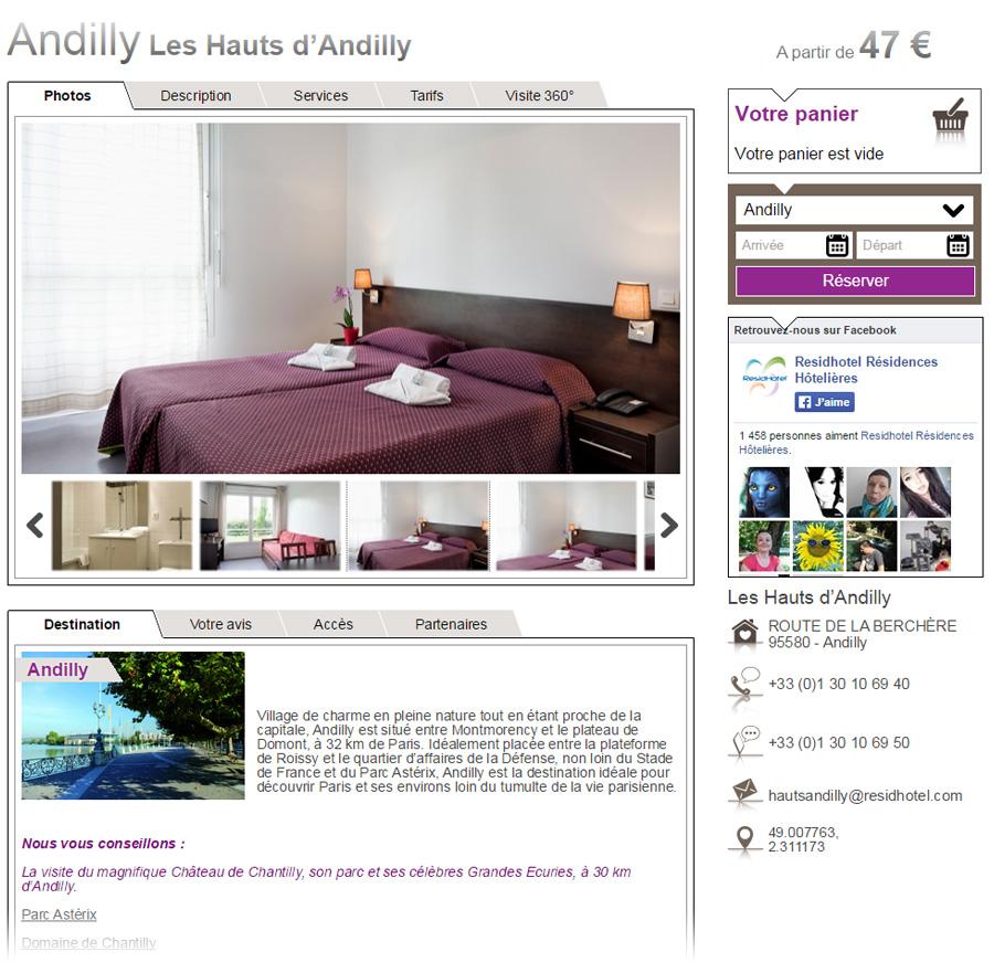Intégration des photos sur le site de résidhotel
